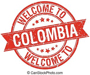 welcome to Colombia red round ribbon stamp