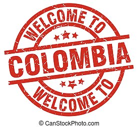 welcome to Colombia red stamp