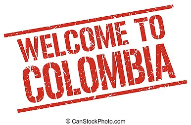 welcome to Colombia stamp