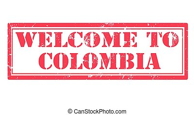 welcome to colombia grunge stamp with on vector illustration