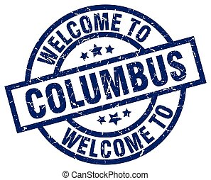 welcome to Columbus blue stamp