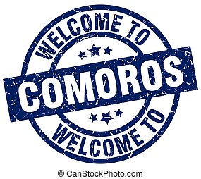welcome to Comoros blue stamp