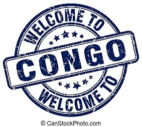 welcome to Congo blue round vintage stamp