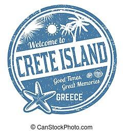 Welcome to Crete island grunge rubber stamp