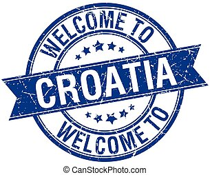 welcome to Croatia blue round ribbon stamp
