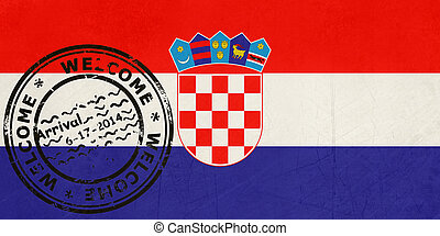 Welcome to Croatia flag with passport stamp