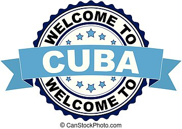 Welcome to Cuba blue black rubber stamp