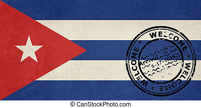 Welcome to Cuba flag with passport stamp