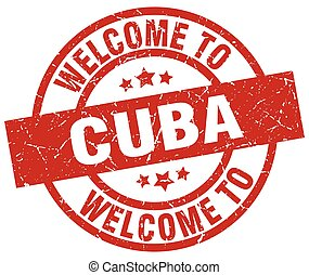 welcome to Cuba red stamp