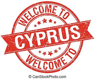 welcome to Cyprus red round ribbon stamp