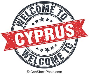 welcome to Cyprus red round vintage stamp