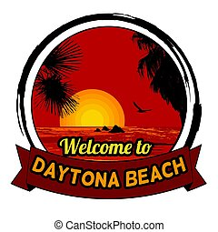 Welcome to Daytona Beach concept for t-shirt and other print production on white background, vector illustration