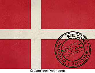 Welcome to Denmark flag with passport stamp
