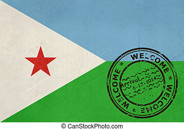 Welcome to Djibouti flag with passport stamp