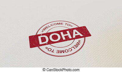 WELCOME TO DOHA wooden stamp animation. Alpha matte for easy...