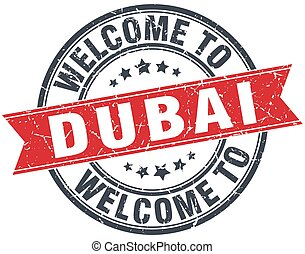 welcome to Dubai red round vintage stamp