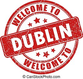 Welcome to Dublin vector stamp