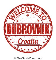 Welcome to Dubrovnik grunge rubber stamp on white background, vector illustration