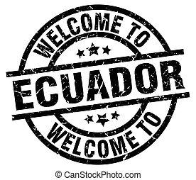 welcome to Ecuador black stamp