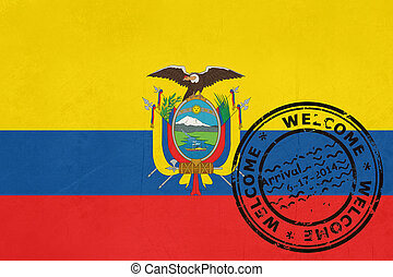 Welcome to Ecuador flag with passport stamp