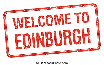 welcome to Edinburgh red grunge square stamp