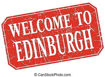 welcome to Edinburgh red square grunge stamp