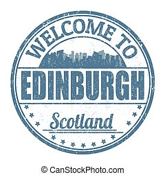 Welcome to Edinburgh sign or stamp