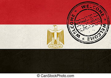 Welcome to Egypt flag with passport stamp