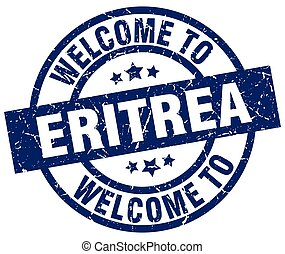welcome to Eritrea blue stamp