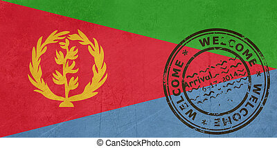 Welcome to Eritrea flag with passport stamp
