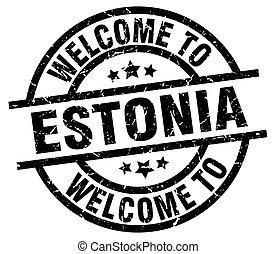 welcome to Estonia black stamp