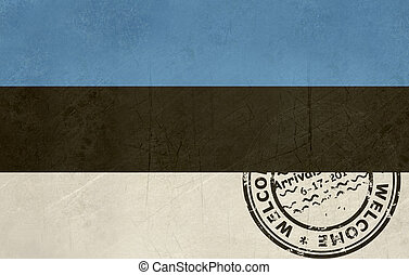 Welcome to Estonia flag with passport stamp
