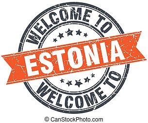 welcome to Estonia orange round ribbon stamp