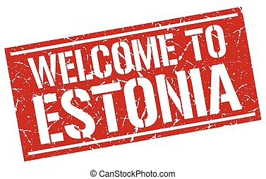 welcome to Estonia stamp