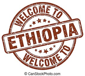 welcome to Ethiopia brown round vintage stamp