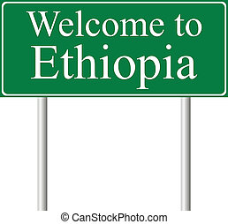 Welcome to Ethiopia, concept road sign