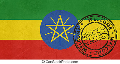Welcome to Ethiopia flag with passport stamp