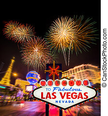 Welcome to fabulous Las vegas Nevada sign with blur strip...