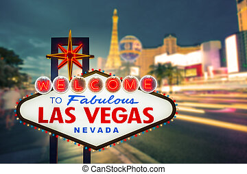 Welcome to fabulous Las vegas Nevada sign with blur strip road background