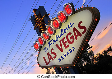 Welcome to Fabulous Las Vegas sign at night, Nevada