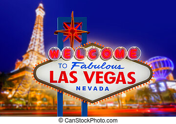 Welcome to Fabulous Las Vegas sign sunset with Strip ...