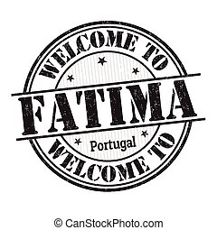 Welcome to Fatima grunge rubber stamp