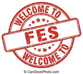 welcome to Fes red round vintage stamp
