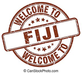 welcome to Fiji brown round vintage stamp