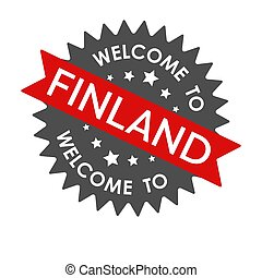 Welcome to FINLAND. Round label with red ribbon. Vector illustration
