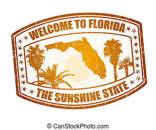 Welcome to Florida travel stamp on white, vector illustration