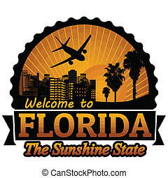 Welcome to Florida travel label or stamp on white, vector illustration