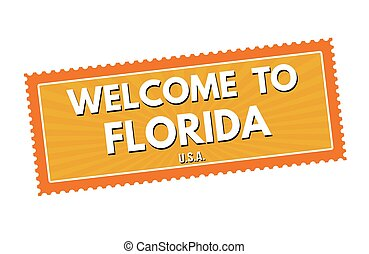 Welcome to Florida travel sticker or stamp