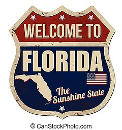 Welcome to Florida vintage rusty metal sign