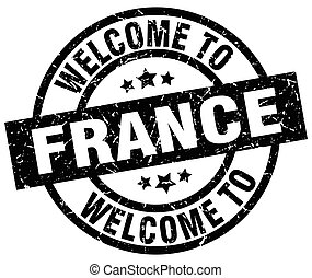 welcome to France black stamp